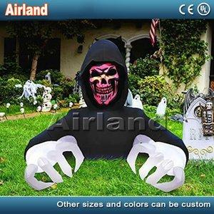 Giant Хэллоуина Открытого украшения Надувного Череп Глава Надувного Жнец Дух со светодиодной подсветкой