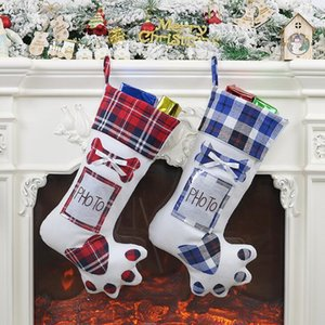Christmas Stocking Dog Paw With Photo Holder Xmas Tree Ornament hanging Socks Candy Bag Christmas Party Decoration Supplies GWF1913