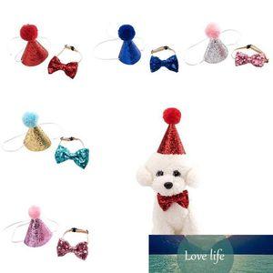 개 생일 모자 Bowknot 타이 반짝 개 고양이 머리띠 크리스마스 파티 장식 애완 동물 개 모자 생일 의상 애완 동물 액세서리