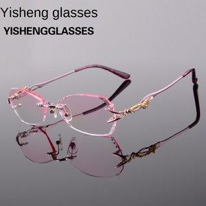 الأزياء mOj1M الجديدة وتقليم التيتانيوم قصو البصر الشيخوخي نظارات بدون إطار سبائك المرأة قصر النظر النظارات قصو البصر الشيخوخي 8036