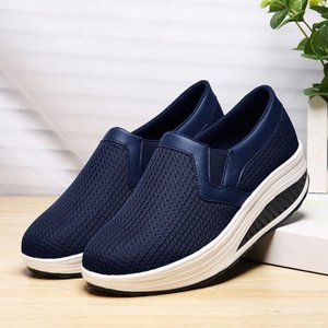 Large Size Running Shoes for Women Platform Sneakers Woman Wedge Tennis Femme Slip-on Sports Shoe Sport Slip on Swing Blue B-340 ua2u#