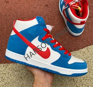 NikeSBDUNKHIGHreact Top-Qualität AIR 1 SB Dunk High Doraemon blau weiß rot Bord Schuhe Männer Frauen beiläufige Schuhe Größe 36-45 CI2692-400Y WK