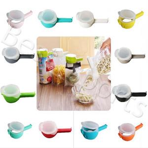 12 cores Seal Pour Food Storage Bag Clipe Food Sealing Clipe braçadeira com grande descarga Ferramentas Bico Cozinha de armazenamento de alimentos YYA475 50pcs