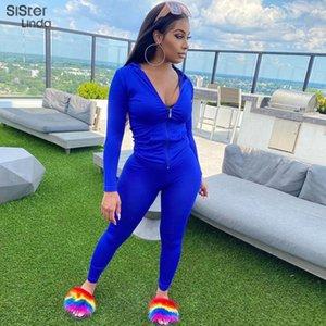 Sisterlinda Mulheres Zipper com capuz Com o Pocket Sporty Pant 2piece Suit manga comprida Tops Leggings condizer Workout roupa casual