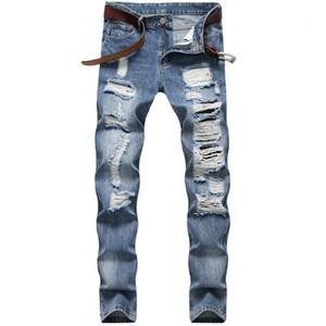 Длинные середины талии Light Blue Мужские джинсы Дыры Дизайнерские Мужские джинсы Straight Тонкий Мужские джинсовые брюки Casual