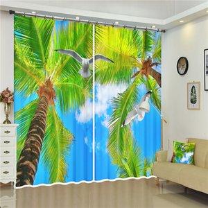 Sol Verde Árbol de coco gaviota del paisaje de impresión digital 3D Smooth cortina de ventana de lujo de la oficina de la sala cortinas Rideaux