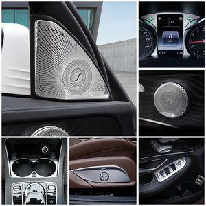 Car Inner Door Audio Speaker Gearshift Panel Door Armrest Cover Trim Sticker for Mercedes Benz C Class W205 GLC X205 Accessories