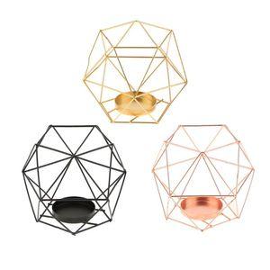 Industrial alambre de hierro 3D geométrica de cristal Portacandelitas partido de la vela titular boda, multi usos, cesta de la flor, Caso de los bonsai