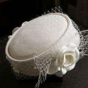 Wedding Hat Donna Fascinators Pillbox cappello con velo 100% lana australiana Feltro Beret Cappelli per cocktail Cappelli banchetti Fiore fedore