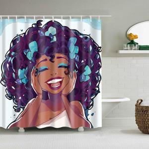 Dafield Black Art Polyester-Gewebe wasserdichte Mehltau resistent Badezimmer Schwarz Frauen Afro Girl Shower Curtain