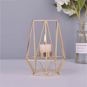 Nordic Стиль Кованые Геометрическая Подсвечники Домашнее украшение Металлические держатели Crafts розовое золото Свеча