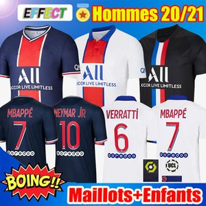 Camisas de futebol Maillots de Foot Air Jordan PSG 20/21 MBAPPE KITS NEYMAR JR Paris Saint Germain ICARDI CAVANI Survetement Kids Football Shirt 2020 2021 Enfants