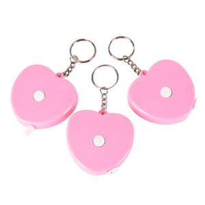 1pc Plastic Portable Retractable Pink Love Shape Mini Tape Measure Ruler Key Chain Keyring