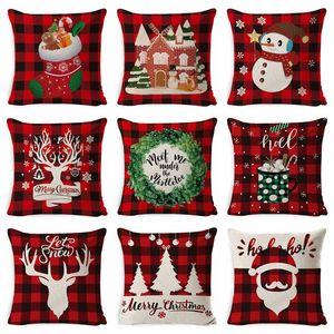 Housses de coussin en lin de Noël Throw taie d'oreiller carrée Canapé Coussin décoratif Coussin de Noël Taie Home Decor 37 Conception HHC2140