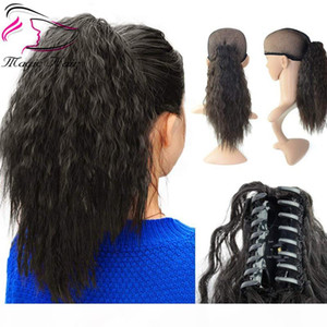 Evermagic hair claw ponytail clip in hair extensions long yaki curly 100% human hairpiece 70-120g with jaw clip color 1B#