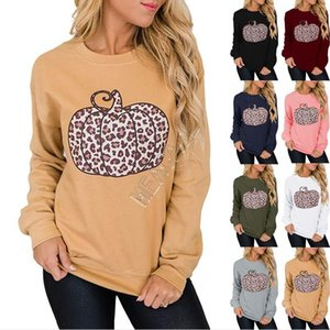 Women T Shirts Pullover Long Sleeve Tops Halloween Clothing Hoodies Designers Patchwork Sweater Leopard Pumpkin Casual Sweatshirts D9712