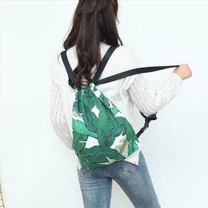 Nueva moda para mujer de las hojas verdes del lazo damas espalda suaves viajes impresión 3D mochila mochila bolsa de cinturón
