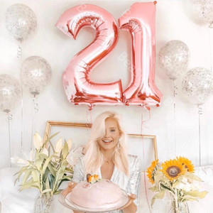 2pcs lot Large Size 40inch Rose Gold Black Foil Balloon figures 21 Adult 21st Birthday Party Decor Anniversary Helium Globos