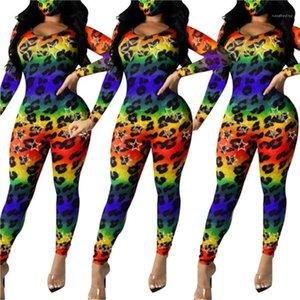 Тощий Rompers Sexy Новый женский дизайнер одежды Красочные Leopard Женщины Комбинезоны моды O шеи длинным рукавом