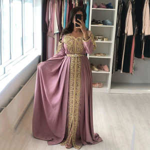 Dusty Pink Embroidery Formal Evening Dresses A Line Gold Lace Beading Full Sleeves Long Arabic Muslim Special Occasion Dress Custom Made