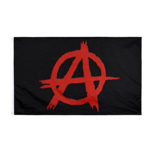wholesale free shipping direct factory 100% Polyester 3 x 5 fts 90*150cm Red letter A on black Anarchy flag For Decoration