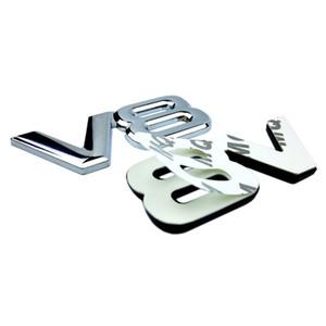 자동 금속 합금 3D V8 로고 엔진 배기량 트렁크 후면 자동차 배지 데칼 크롬 V8 사이드 윙 엠블럼 스티커 자동차 스타일링