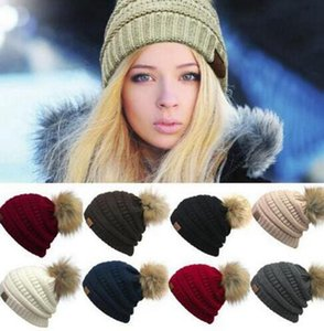 CC Beanies Autumn Winter Knitted Skullies Casual Outdoor Hat Solid Ribbed Beanie with Pom Big Kids Hats 9 Colors 50pcs