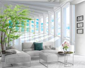 3d Moderne Tapeten 3D-Landschaft Wallpaper Schöne weiße Erweiterte Raum Gebäude Romantische Landschaft Dekorative Silk 3d Mural Tapete
