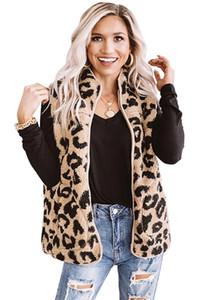 Herbst-Winter-Stehkragen Frauen Fleece Leopardenweste Faux-Pelz outwear Weste Weibliche beiläufige Reißverschluss-Mantel-Jacken