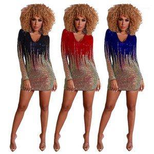 النساء الملابس النسائية مصمم الترتر نصب منصة فستان مثير V الرقبة حزب فساتين كم طويل فساتين اللون الطبيعي