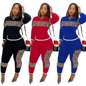 WomenTracksuit Leopard camouflage Splicing Survêtement deux pièces Set Top Sweat-shirt et pantalon Jogger sportif Costume Femme Tenues Casual Club de