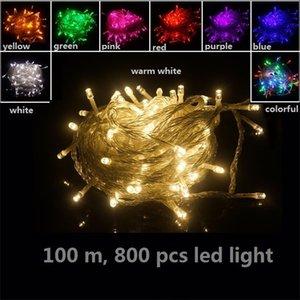 100m decoraciones de luz del proyector al aire libre fiesta en casa jardín de la Navidad Bulbos Adornos flash LED Luces Ul-lista