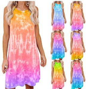 New Female Sleeveless Short Skirt Tie Dye Printed Women Dress Designer Gradient Loose Vest T-shirt Casual Round Neck Dress Fashion