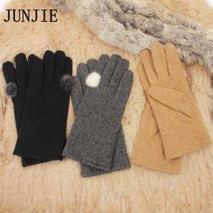 Cinco Dedos luvas est feminino tela touch lã luva grossa luvas mulheres mitenes inverno quente pulso dedo cheio de alta qualidade 10 pares