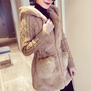 Women Winter Jacket Hooded Coat Furry Faux Fur Knit Sweater Jacket Warm Outerwear Coat Ladies Casual Coats jaqueta