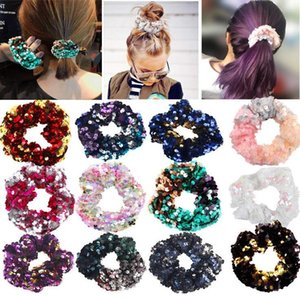 Girls Mermaid Sparkly Sequins Scrunchies for Hair Eleastic Bands Hair Scrunchy Hair Ties Ropes Ponytail Holders Rubber Bands for Girls