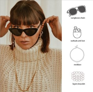 Women Accessories Multifunction Mask Glasses Chain Thick Sunglasses Headset Imitation Anti-Lost Chain Lanyard Pearl Hold Straps Dqkxm