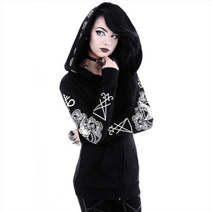 Sigil Satan Goat Head God Sweatshirt Gothic Black Zipper Pocket Hooded Hoodies Women Pentacle Plus Size Witch Coat Jacket