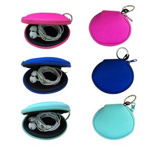 RTS Plain Colore Per Sublimazione impermeabile Auricolare sacchetto della cassa del neoprene con zip borsa della moneta del sacchetto della copertura del viso Con Portachiavi OWF1904