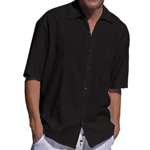 Feitong Männer Casual Shirts Baumwolle Sommer neue 2020-Strand-Hemd-Taschen-Knopf-Revers-Short Sleeve Solid Black weißes Hemd