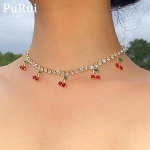 Iceout Crystal Chain Mulheres Nelace Boho Coréia Fresh Cherry Pedant Gargantilha Colar De Ouro Color Girl Collar Jóias Presente Charme