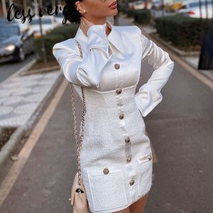 lessverge Элегантные женщины офисные дамы твидовый пиджак платье однобортный мини Bodycon платье кисточкой карман зима платье плюс размер T200911