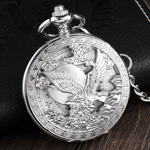 Eagle Pattern Mechanical Pocket Watches Skeleton Movement Self Hand Wind Watch for Men Women Russia Bird Hollow Fob Chain Clock