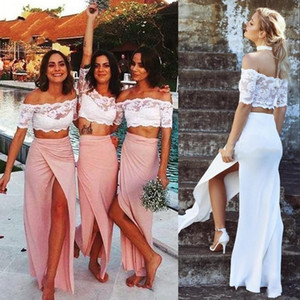 2021 Two Piece Bridesmaid Dresses Sheath Short Sleeves Scalloped Off the Shoulder Front Slit Custom Made Beach Wedding Maid of Honor Gown