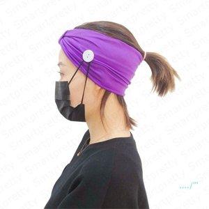 para a máscara na moda Headband Mulheres Meninas Sólidos Esporte Cor Gym Knit capa da faixa do cabelo com o botão auriculares com atenuação Yoga Wearable Absorvendo Hairlace E4911