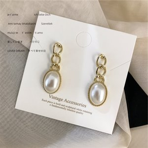 Hot Sale Vintage Style Geometric Ladies Earrings Night Club Party Personality Pearl Eardrop Design Fashion Women Stud for Party
