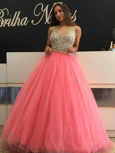 Water Melon Beaded Sequins Quinceanera Dresses Cheap Sheer Neck Tulle Party Sweet 16 Prom Dress Party Evening Dresses
