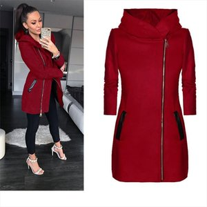 Winter Autumn Coat For Women Daily Hot Flash Collar Plus Size Women Jacket Hoodie Pockets Turtleneck Tops