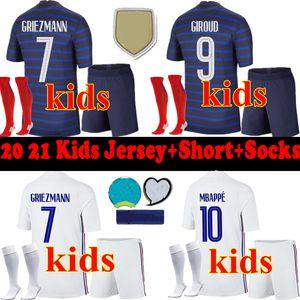 Crianças 2020 kits uniforme completo 2.021 meninos France crianças Futebol jersey + short meias + set 20 21 Mbappé Kante Pogba GRIEZMANN Football Shirts maillot