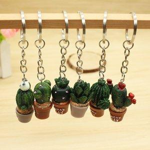 La mini impianto di simulazione potted portachiavi portachiavi in resina cactus, gli accessori del sacchetto dell'automobile, regali shiprandom